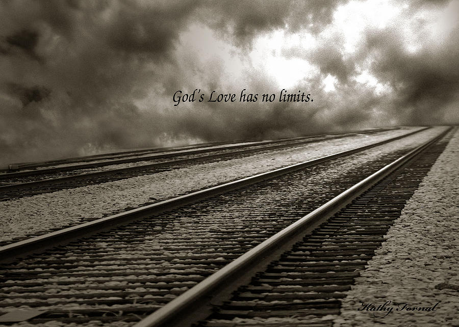 Railroad Tracks Photograph - Railroad Tracks Storm Clouds Inspirational Message  by Kathy Fornal