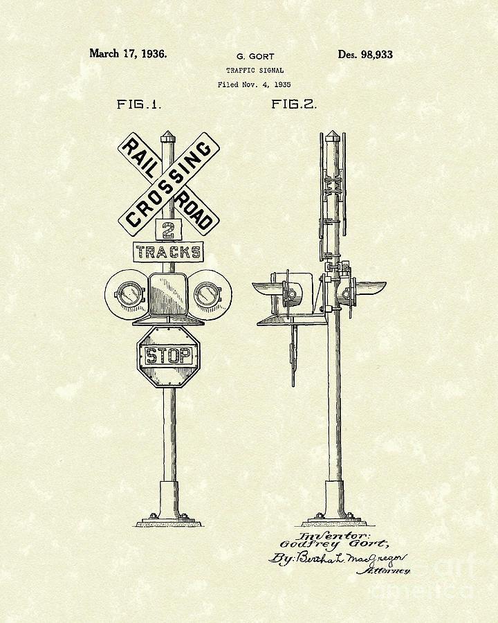 Railroad Drawing - Railroad Traffic Signal 1936 Patent Art by Prior Art Design