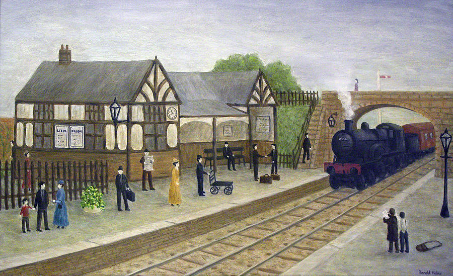 Railway Station 1905 Painting By Ronald Haber