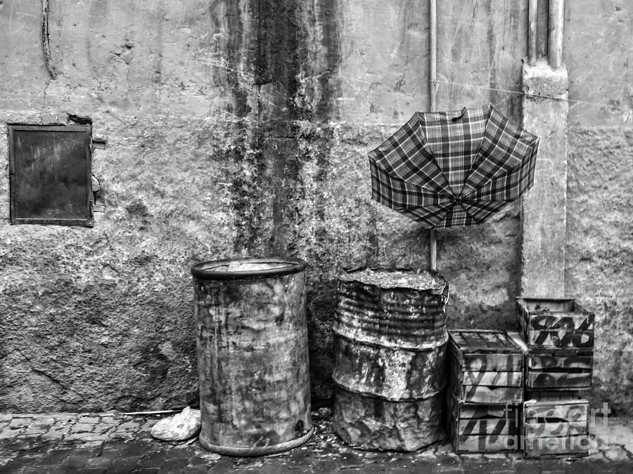 Morocco Photograph - Rain Bw Marrakesh by Chuck Kuhn