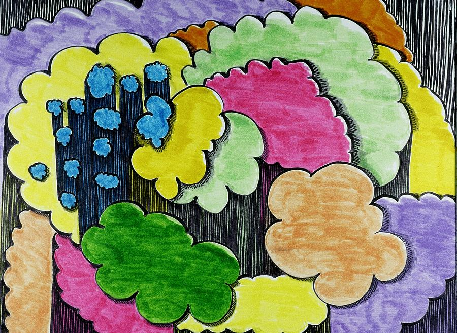 Rain Drawing - Rain Clouds by Lesa Weller