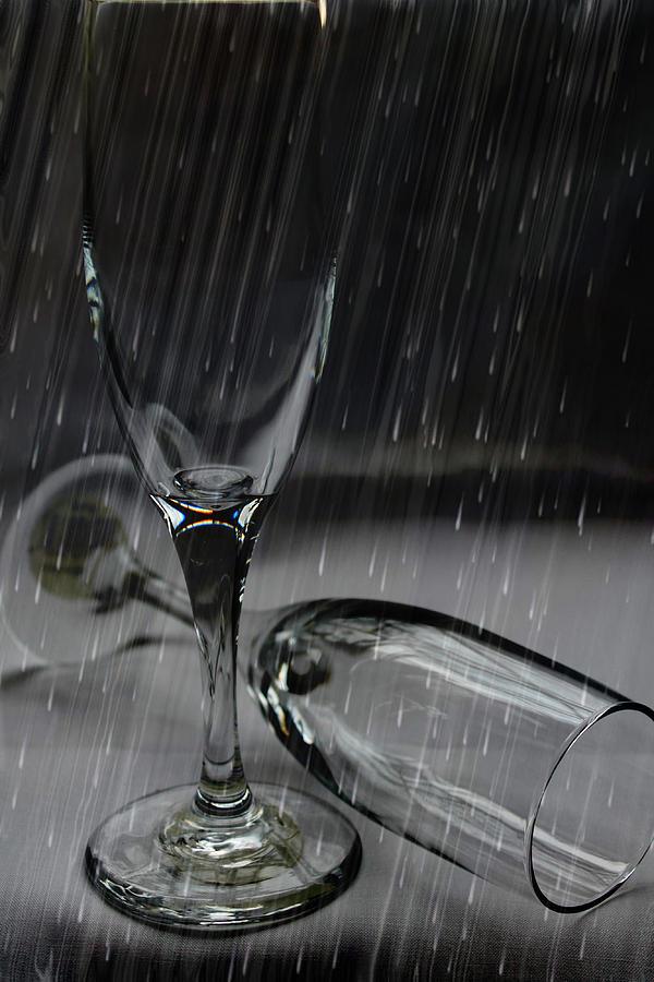 Glasses Photograph - Rain Glasses by Sarah Broadmeadow-Thomas