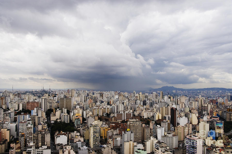 Apartment Photograph - Rain Shower Approaching Downtown Sao Paulo by Jeremy Woodhouse