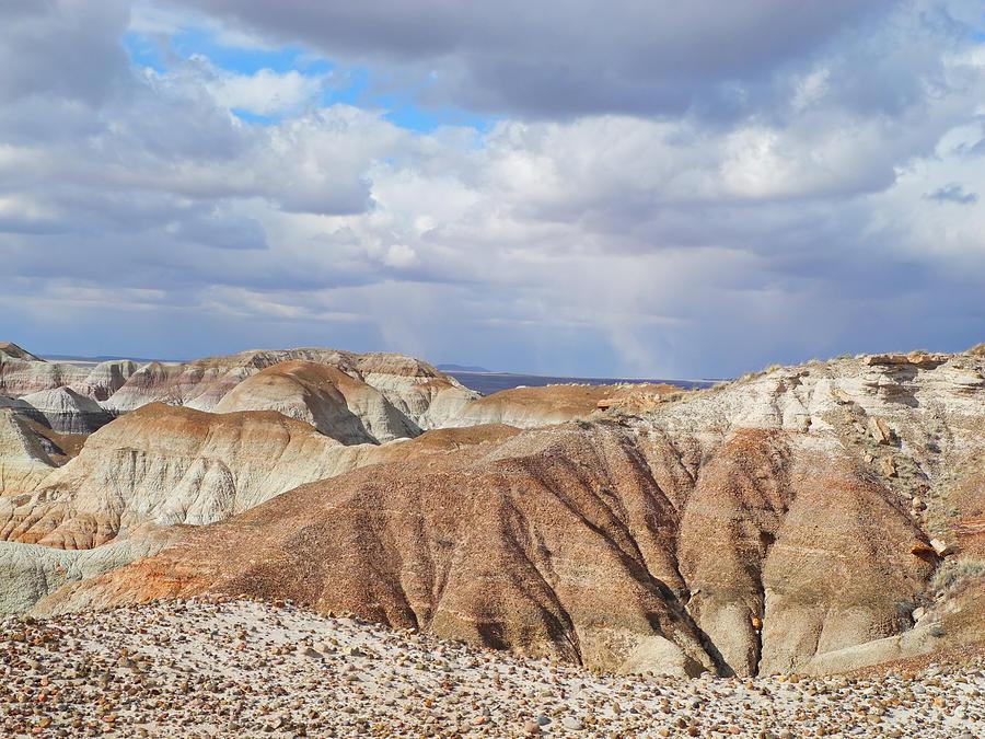 Blue Mesa Photograph - Rain Squall Behind The Badlands by Lynda Lehmann