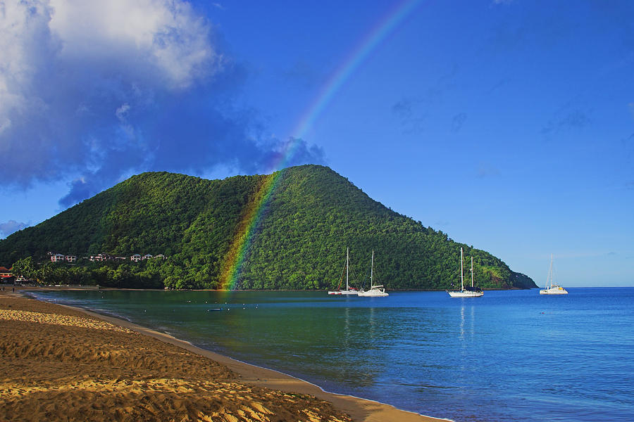 Rainbow and Boats- St Lucia by Chester Williams