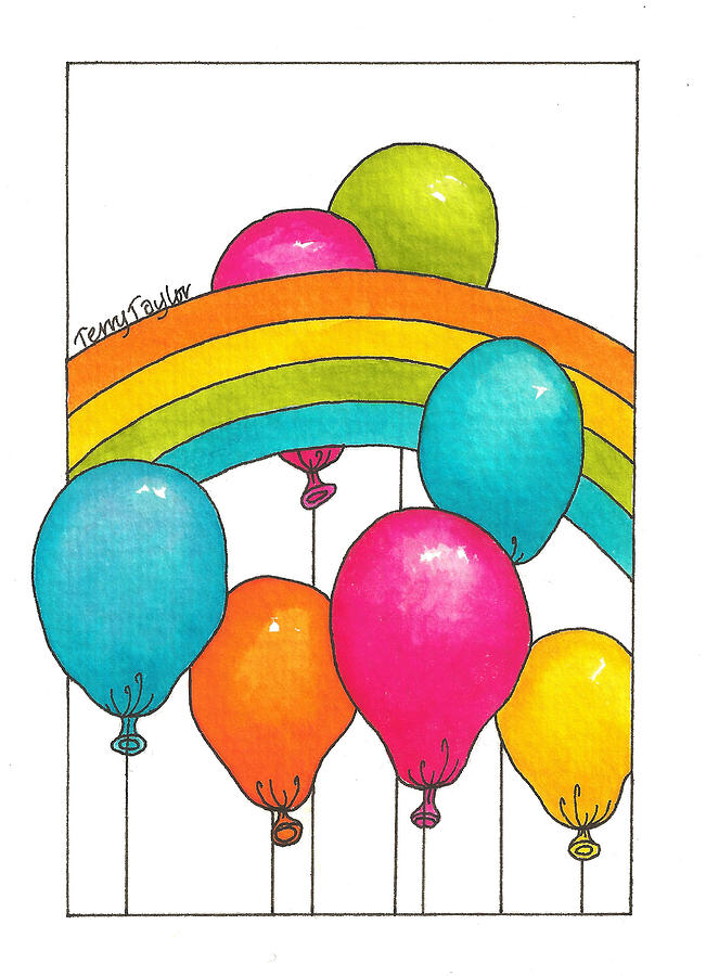 Rainbow Painting - Rainbow Balloons by Terry Taylor