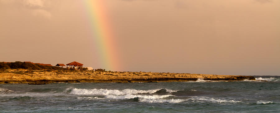 Background Photograph - Rainbow By The Sea by Stelios Kleanthous