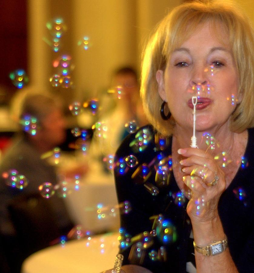 Colored Bubbles Photograph - Rainbow Colored Bubbles  by Gloria  Shelton