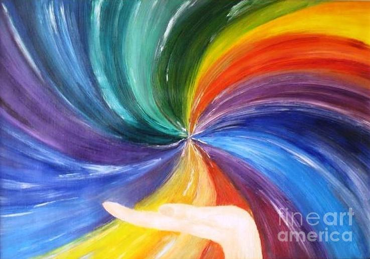 Childhood Painting - Rainbow For My Son by AmaS Art