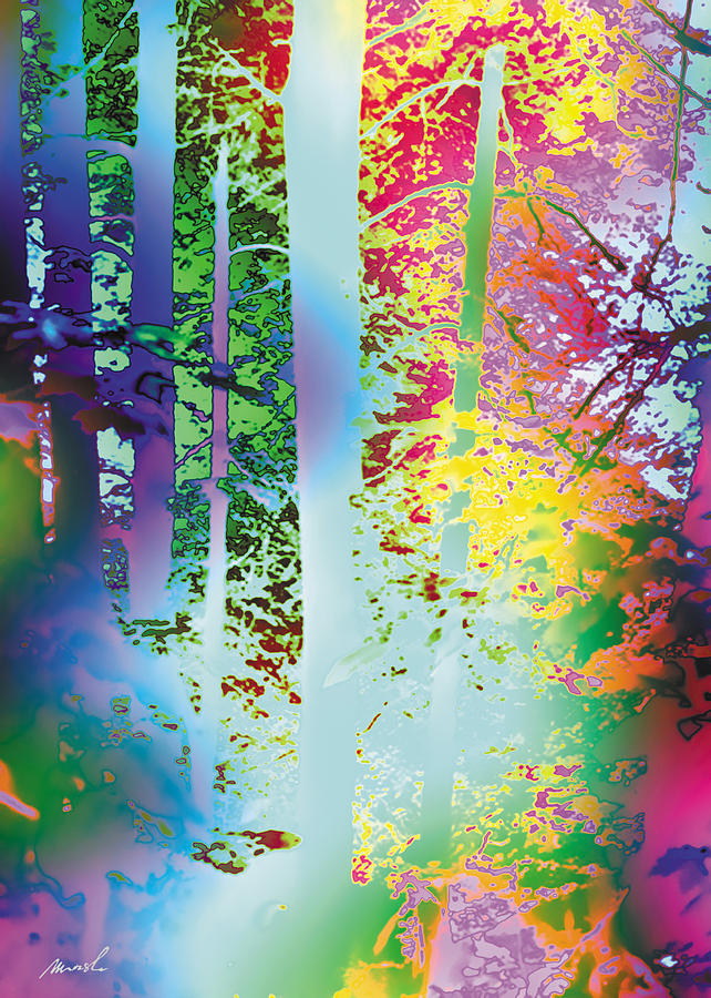 Psychedelic Painting - Rainbow Forest by The Art of Marsha Charlebois