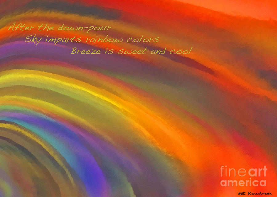 Abstract Digital Art - Rainbow Haiku by ME Kozdron