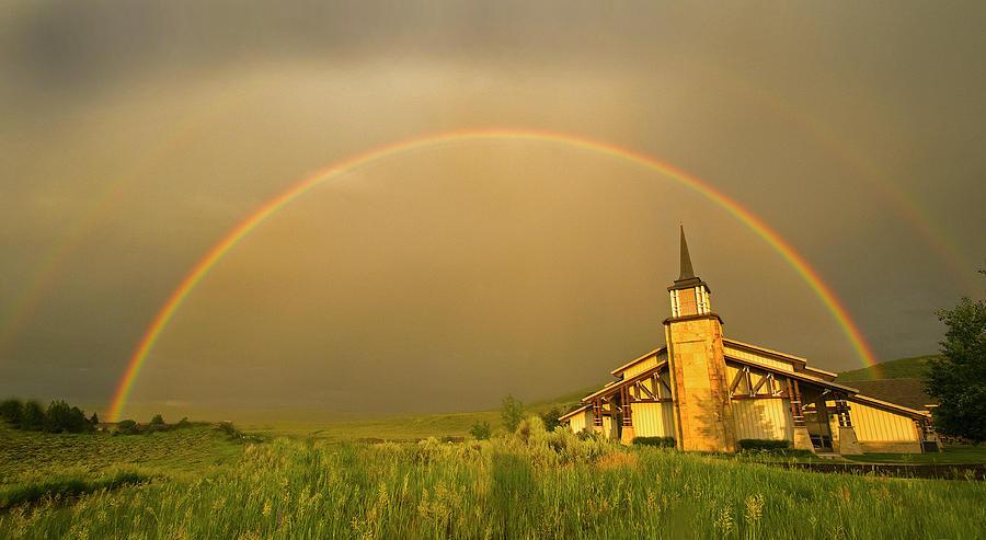 Horizontal Photograph - Rainbow In Stormy Sky by Tom Kelly Photo