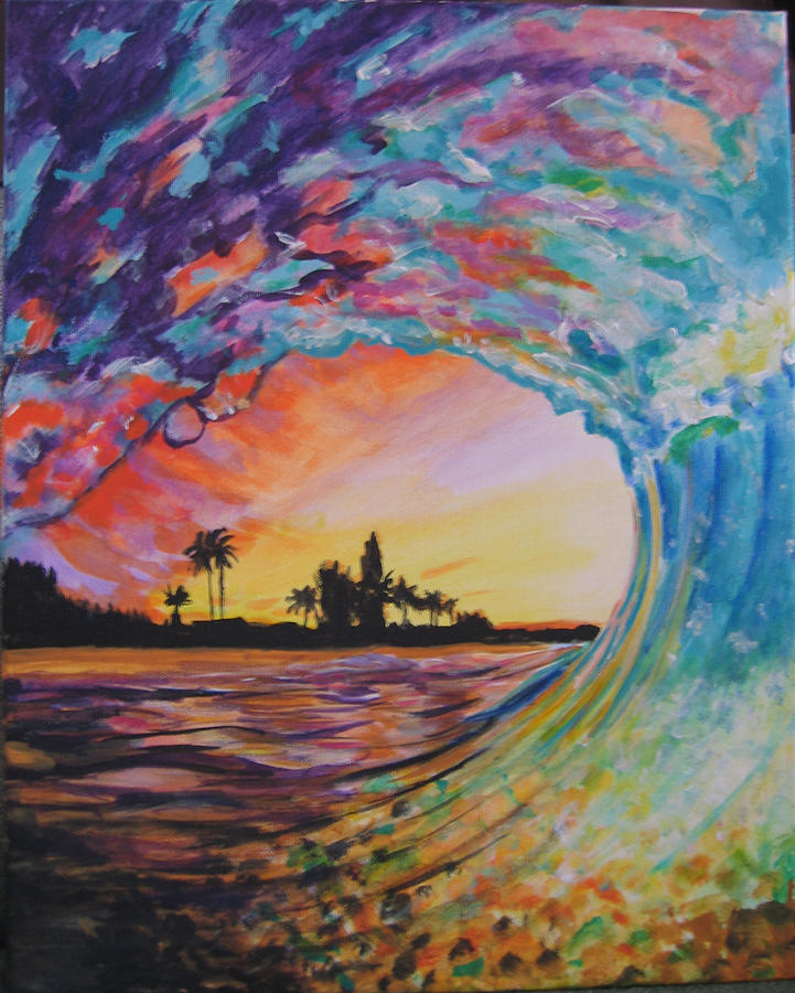 Giant Wave Painting - Rainbow Jawz Wave by Anne Provost