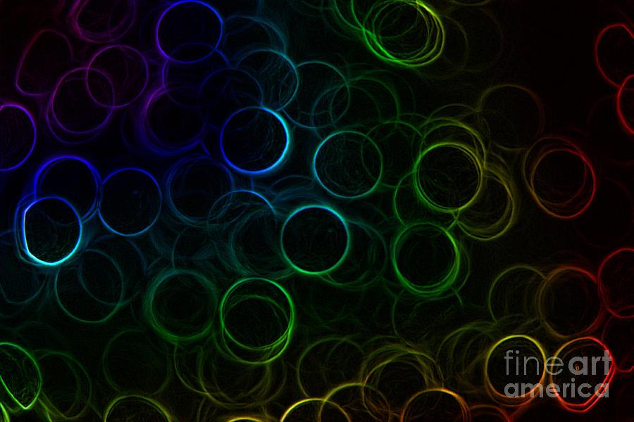 Rainbow Photograph - Rainbow Neon Rings by Rachel Duchesne