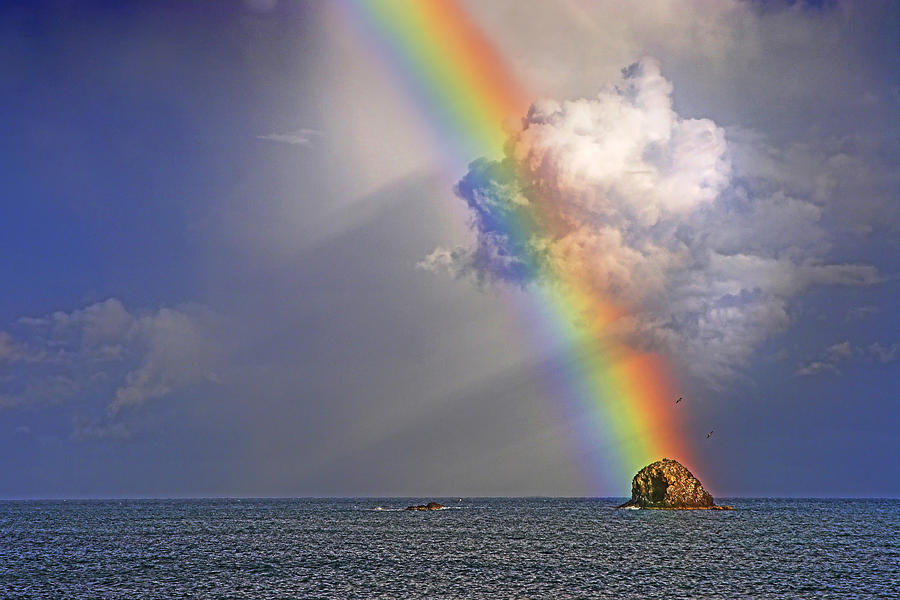 Rainbow on Birdrock- St Lucia. by Chester Williams