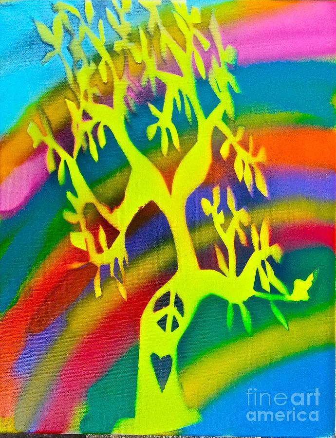 Tree Painting - Rainbow Roots by Tony B Conscious