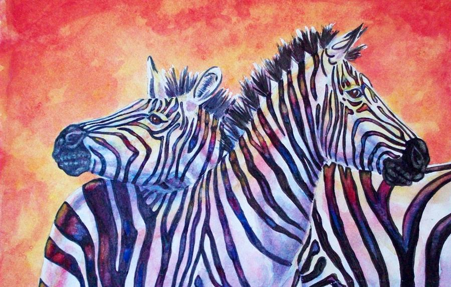 Wildlife Painting - Rainbow Zebras by Diana Shively
