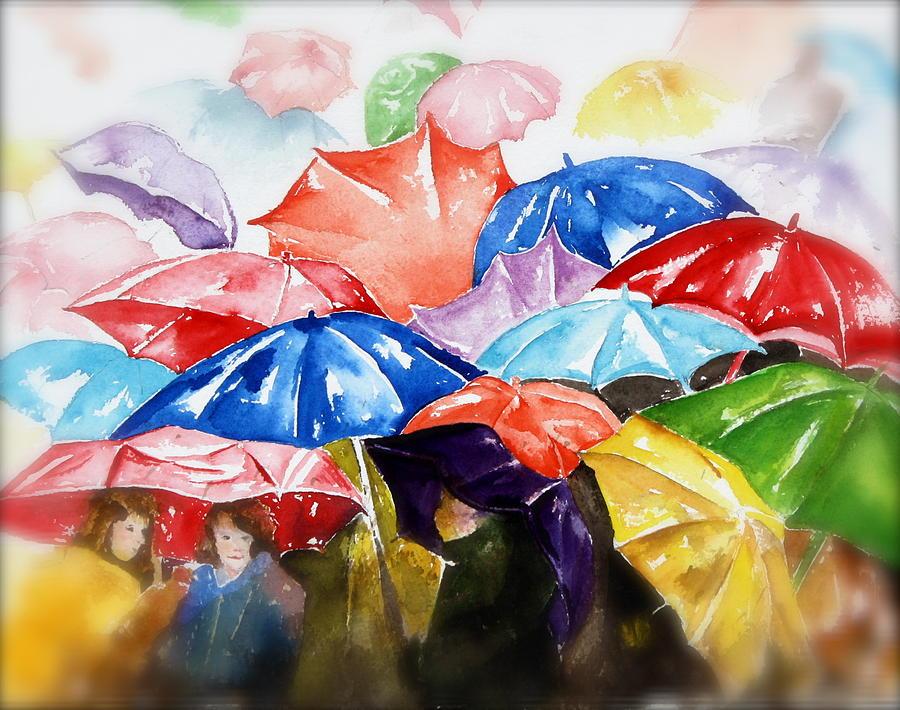 Colorful Painting - Raining Umbrellas by Peg Ott Mcguckin