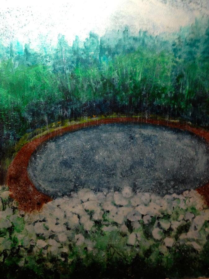 Land Scape Painting - Rainy Back Yard by Giti Ala