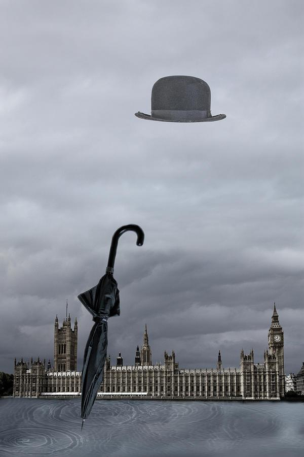 London Digital Art - Rainy Day In London  by Angel Jesus De la Fuente