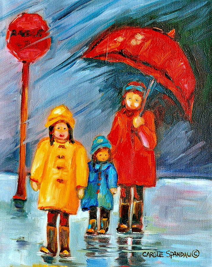 Rainy Day Paintings Montreal City Scenes Painting By