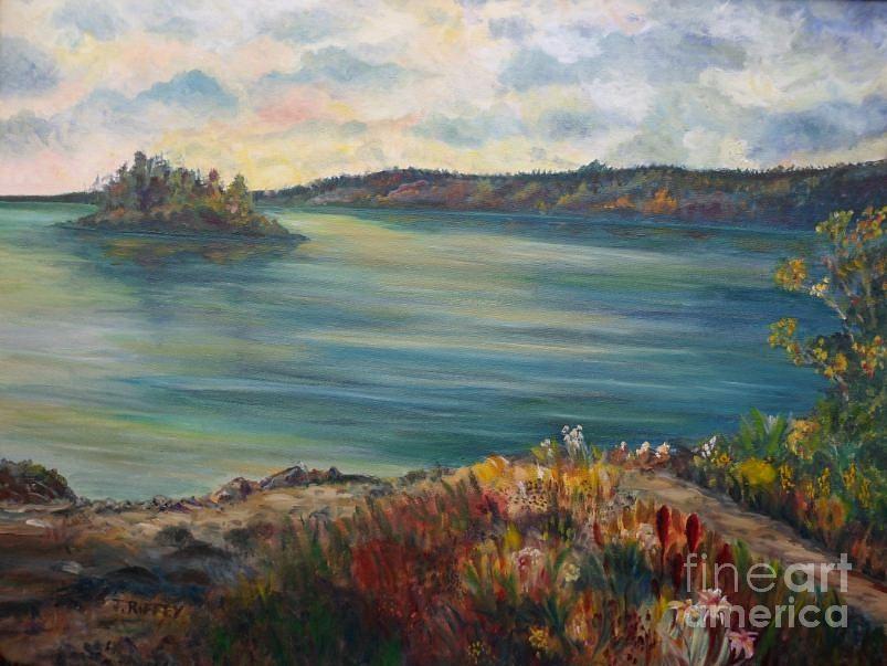 Lake Painting - Rainy Lake Michigan by Julie Brugh Riffey