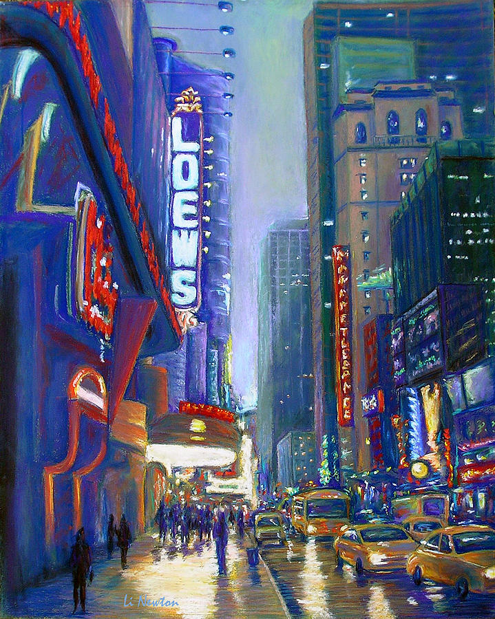 Times Square Painting - Rainy Reflections In Times Square by Li Newton
