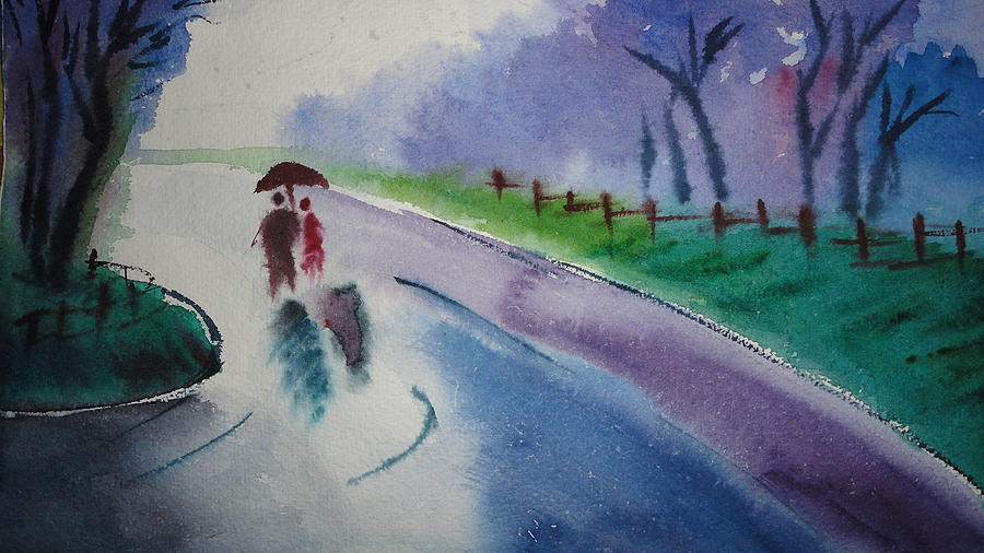 Rain Painting - Rainy Season by Vijayendra Bapte