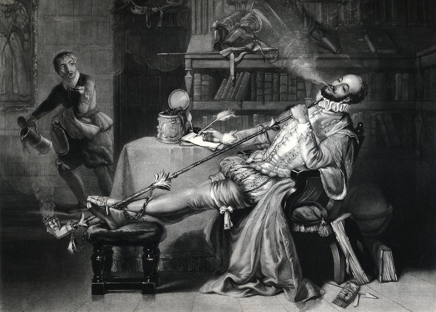 Walter Raleigh Photograph - Raleigh Smoking Tobacco, 16th Century by George Arents Collectionnew York Public Library