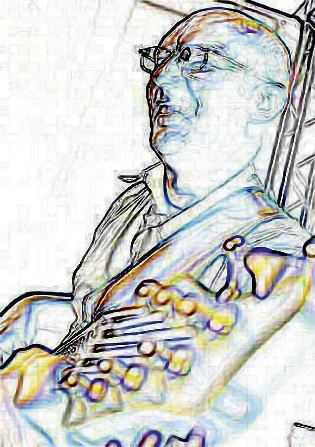 Bass Player Digital Art - Ralf Lightening - High Key by Nafets Nuarb