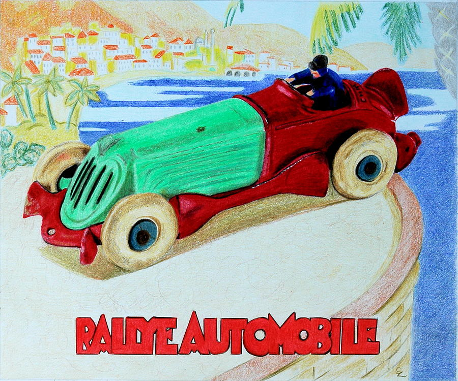 Car Drawing - Rallye Automobile by Glenda Zuckerman