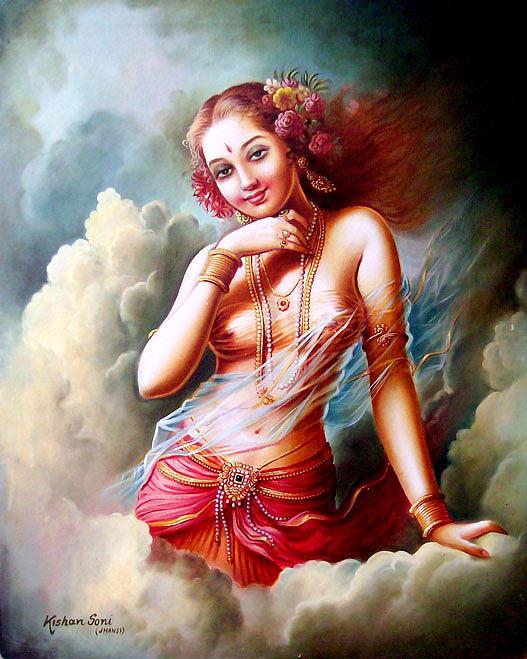 Apsara paintings fine art america apsara painting rambha apsara by kishan soni altavistaventures Images