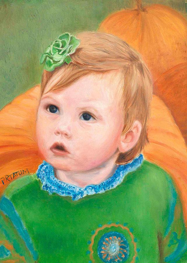 Portrait Painting - Ramey Kate In The Pumpkin Patch by Pamela Ramey Tatum