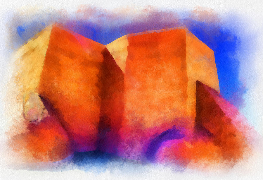 Santa Digital Art - Ranchos Nave - Watercolor by Charles Muhle
