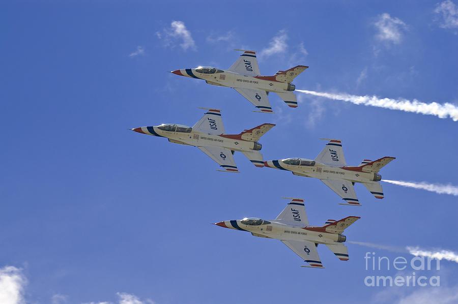 Usaf Photograph - Rare Usaf Thunderbirds Diamond Pass by Tim Mulina