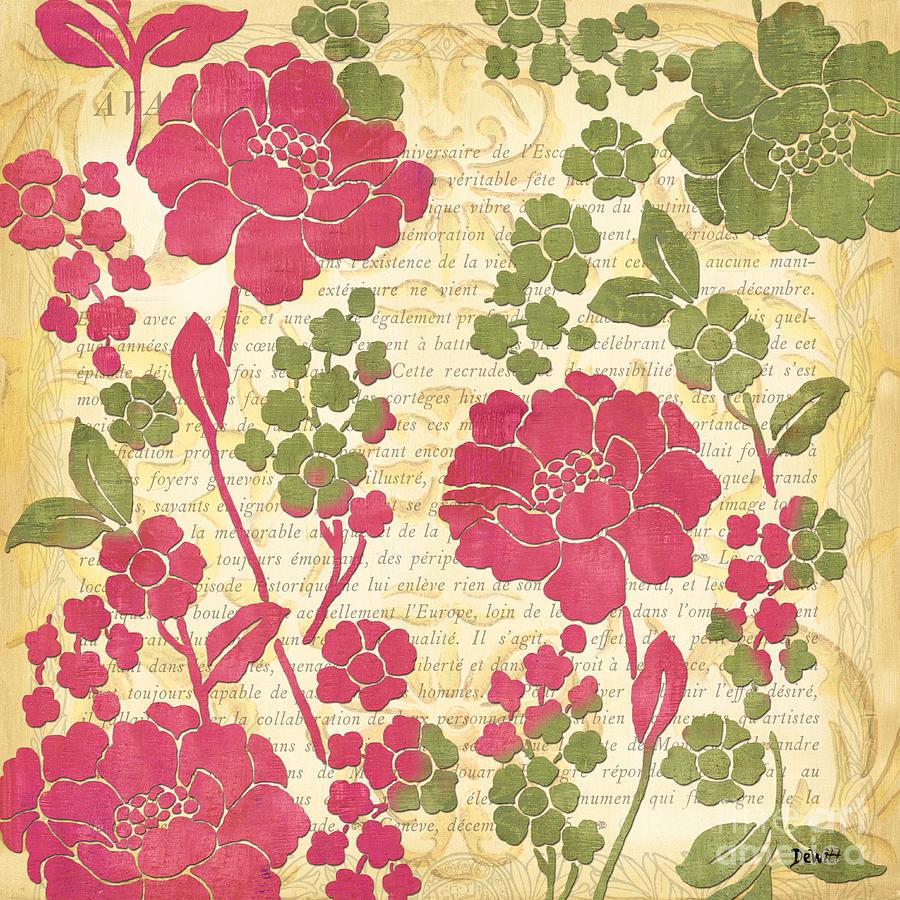 Sorbet Painting - Raspberry Sorbet Floral 1 by Debbie DeWitt