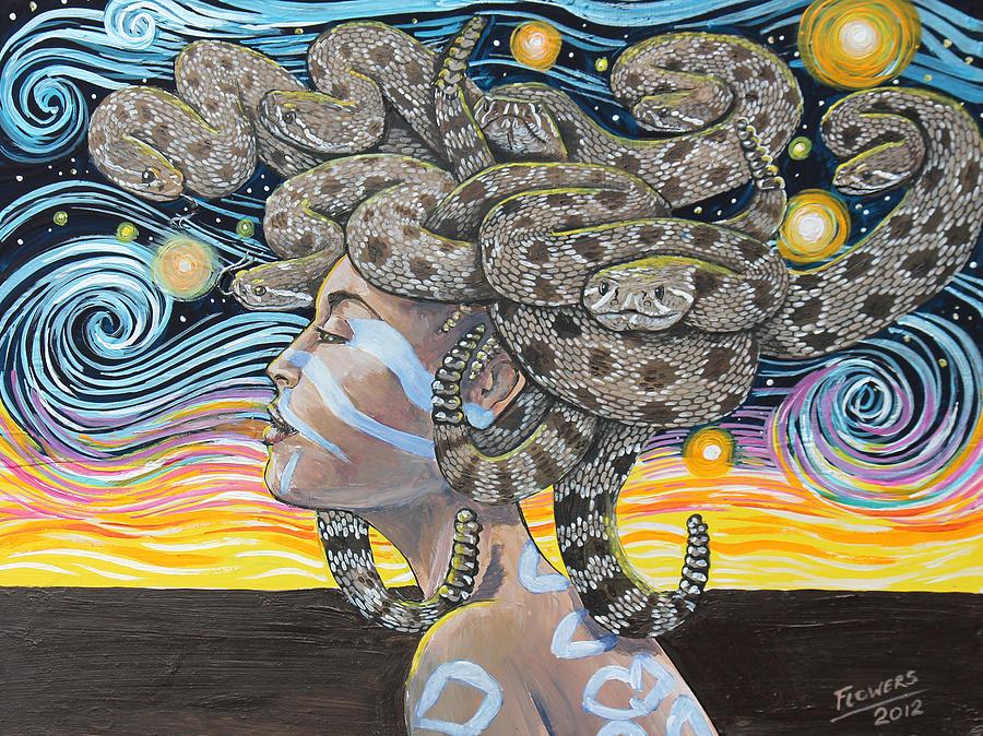 Rattlesnake Painting - Rattlesnake Medusa by Bill Flowers