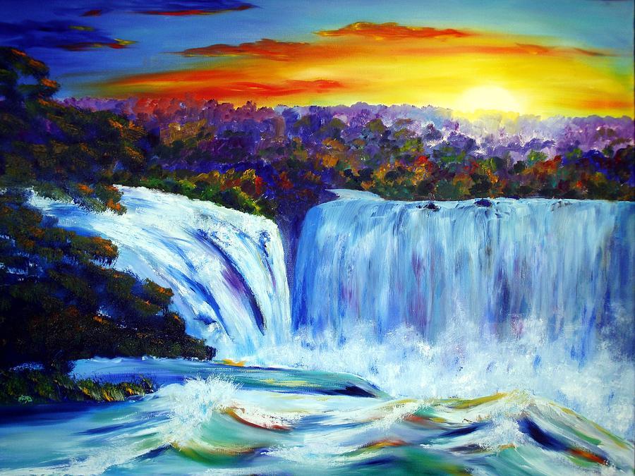 Wasserfall Painting - rauschendes Wasser by Karin Mueller