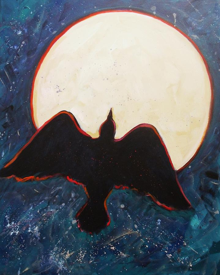 Raven Painting - Raven And Bright Moon by Carol Suzanne Niebuhr