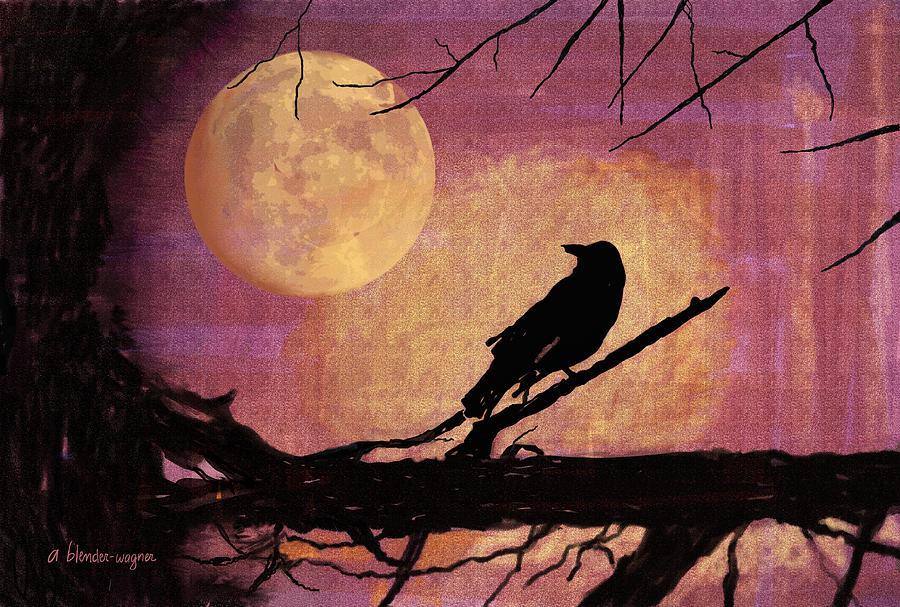 Bird Digital Art - Raven And The October Moon by Arline Wagner