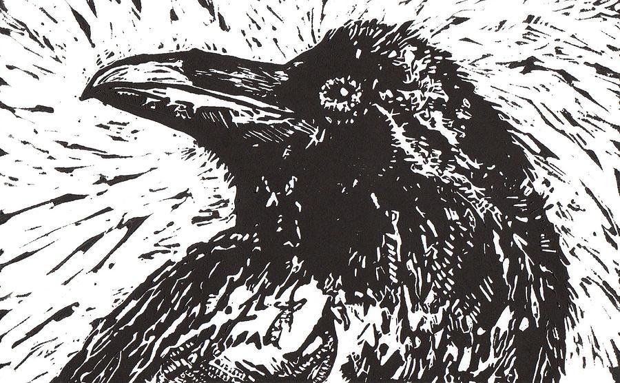 Linocut Mixed Media - Raven by Julia Forsyth