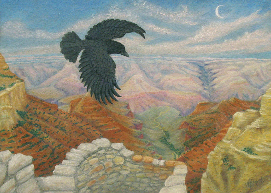 Pastel Landscape Painting - Raven Over The South Rim  by Marcia  Perry