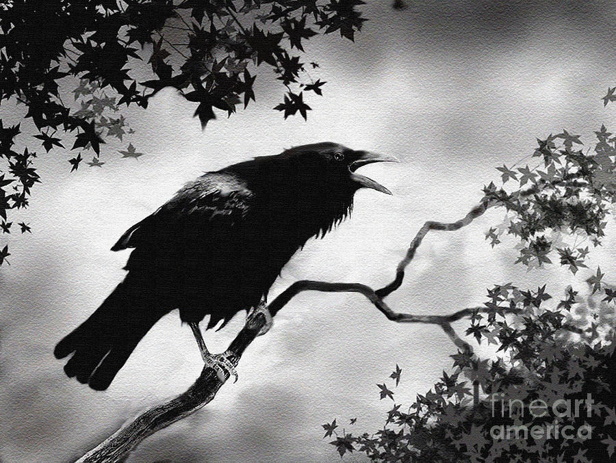 Crow Painting - Ravens Song by Robert Foster