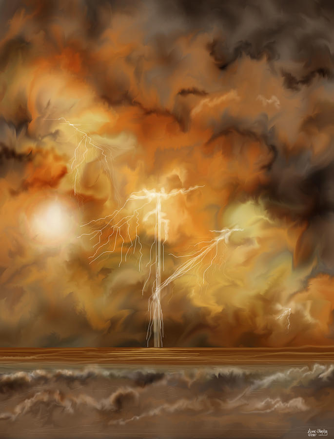 Lightning Storm Digital Art - Raw Power by Anne V Norskog