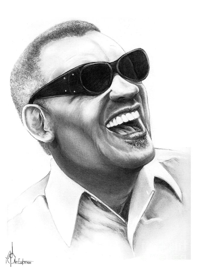 Drawing Drawing - Ray Charles by Murphy Elliott