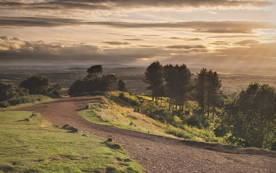 Horizontal Photograph - Rays Of Sunlight Over Clent Countryside by Verity E. Milligan