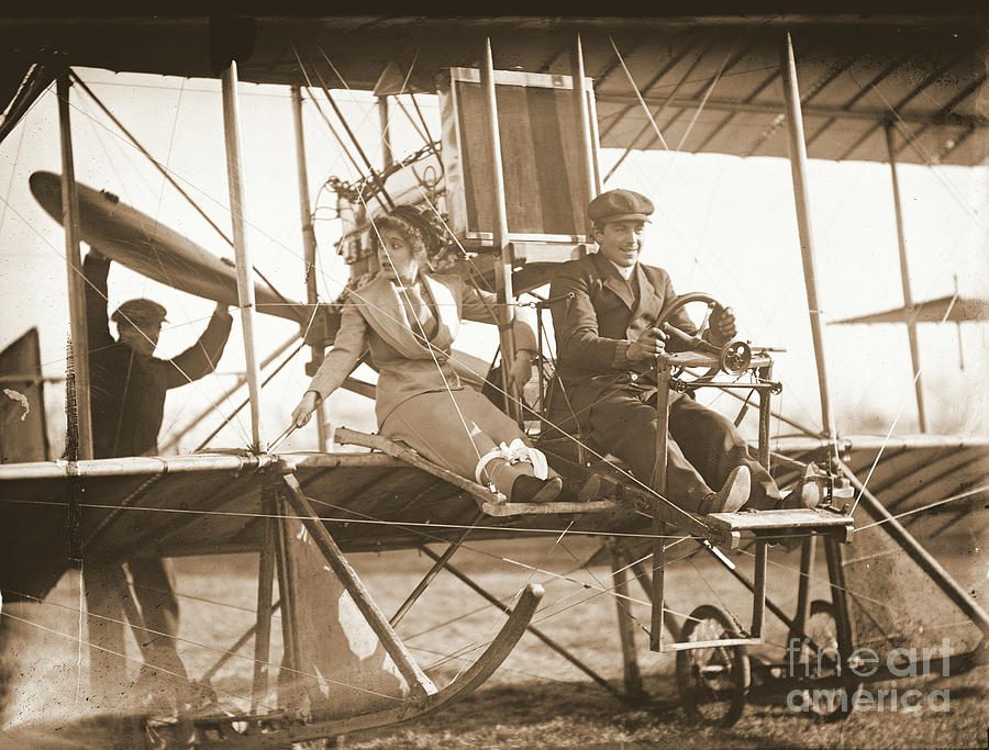 Biplanes Photograph - Ready For Takeoff 1912 Sepia by Padre Art