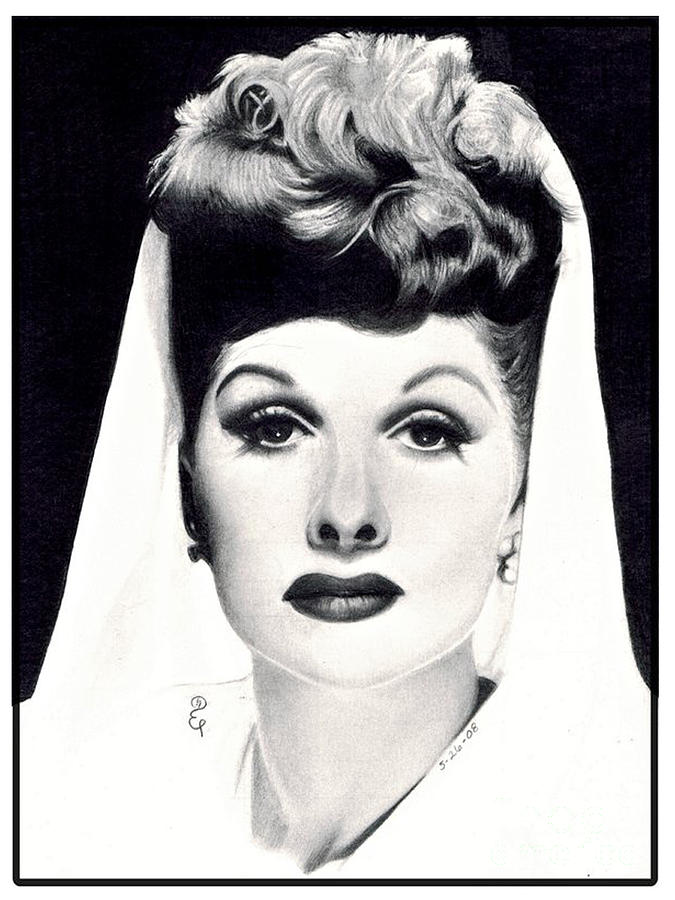 Realistic pencil drawing of Lucille Ball by Debbie Engel