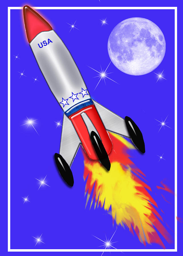 Space Ship Painting - Really Cool Rocket In Space by Elaine Plesser