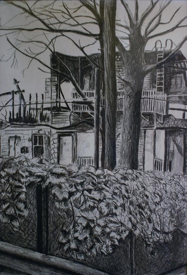 Drawing Painting - Rear View At Greene Ave. Brooklyn by Victor SOTO